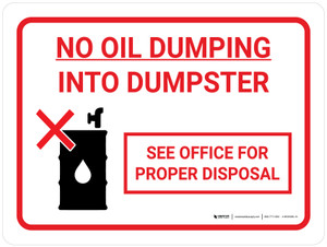 No Oil Dumping with Icon Landscape - Wall Sign
