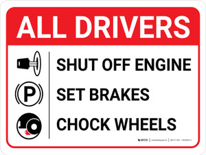 All Drivers: Shut Off Engine Set Brakes Chock Wheels Landscape with Icons - Wall Sign