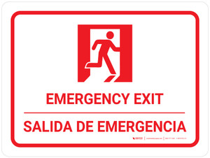 Emergency Exit Landscape Bilingual Spanish with Icons - Wall Sign