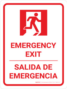 Emergency Exit Portrait Bilingual Spanish with Icon - Wall Sign