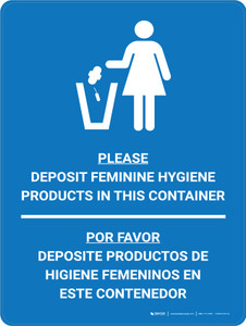 Please Deposit Feminine Hygine Products in Container Bilingual Spanish Icon Blue - Wall Sign