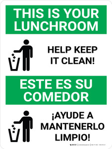 Keep Lunchroom Clean Bilingual Spanish with Icons - Wall Sign