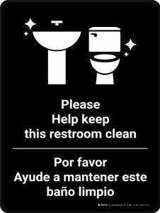 Keep Restroom Clean Bilingual Spanish With Icon - Wall Sign