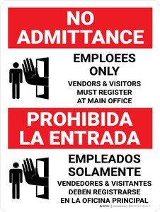No Admittance Employees Only Vendors And Visitors Bilingual Spanish With Icon - Wall Sign