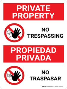 No Trespassing Private Property Bilingual Spanish With Icons - Wall Sign
