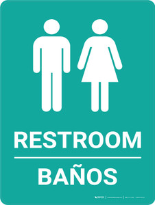 Restroom Bilingual Spanish Green with Icon - Wall Sign