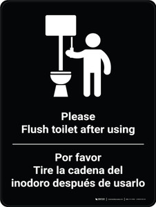 Please Flush Toilet After Using Bilingual Spanish With Icon - Wall Sign