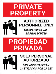 Private Property Authorized Personnel Only Bilingual Spanish with Icon - Wall Sign