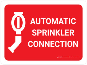 Automatic Sprinkler Connection Red Landscape with Icon - Wall Sign