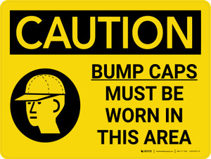 Caution: Bump Caps Must Be Worn In This Area Landscape With Icon - Wall Sign