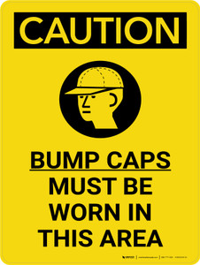 Caution: Bump Caps Must Be Worn In This Area Portrait With Icon - Wall Sign