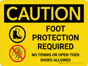 Caution: Foot Protection Required No Tennis Or Open Toed Shoes Landscape With Icons - Wall Sign
