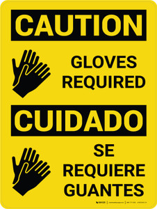 Caution: Gloves Required Bilingual Spanish With Icons - Wall Sign