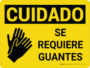 Caution: Gloves Required Spanish Landscape With Icon - Wall Sign