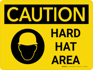 Caution: Hard Hat Area Landscape With Icon - Wall Sign