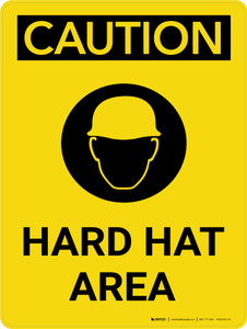 Caution: Hard Hat Area Portrait With Icon - Wall Sign