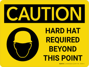 Caution: Hard Hat Required Beyond Point Landscape With Icon - Wall Sign