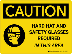 Caution: Hard Hat Safety Glasses Required In This Area Landscape With Icon - Wall Sign