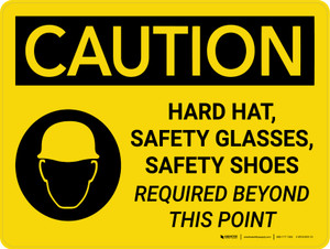 Caution: Hard Hat Safety Glasses Safety Shoes Required Landscape With Icon - Wall Sign