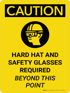 Caution: Hard Hats and Safety Glasses Beyond this Point Portrait With Icon - Wall Sign