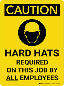 Caution: Hard Hats Required Employees Portrait With Icon - Wall Sign