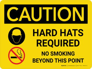 Caution: Hard Hats Required No Smoking Landscape With Icons - Wall Sign