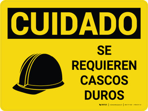 Caution: Hard Hats Required Spanish Landscape With Icon - Wall Sign