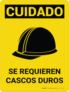 Caution: Hard Hats Required Spanish Portrait With Icon - Wall Sign