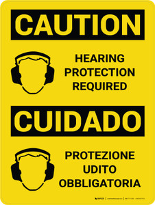 Caution: Hearing Protection Required Bilingual Spanish With Icons - Wall Sign