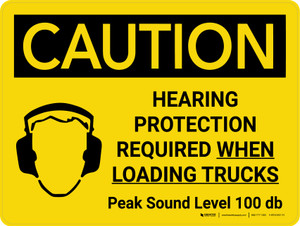 Caution: Hearing Protection Required When Loading Trucks Landscape With Icon - Wall Sign