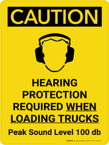 Caution: Hearing Protection Required When Loading Trucks Portrait With Icon - Wall Sign