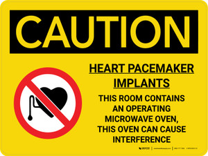 Caution: Heart Pacemaker Implants Room Contains Microwave Landscape With Icon - Wall Sign