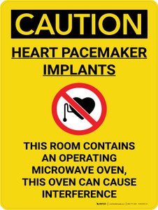 Caution: Heart Pacemaker Implants Room Contains Microwave Portrait With Icon - Wall Sign
