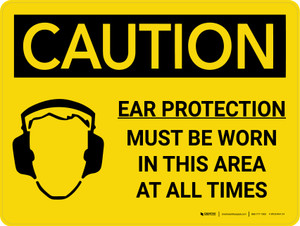 Caution: PPE Ear Protection Must be Worn in Area at All Times Landscape With Icon - Wall Sign