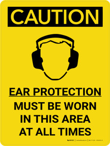 Caution: PPE Ear Protection Must be Worn in Area at All Times Portrait With Icon - Wall Sign
