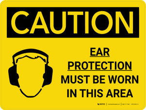 Caution: PPE Ear Protection Must be Worn in Area Landscape With Icon - Wall Sign