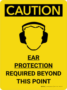 Caution: PPE Ear Protection Required Beyond this Point Portrait With Icon - Wall Sign