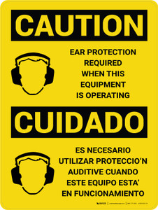 Caution: PPE Ear Protection Required with Equipment Bilingual Spanish With Icons - Wall Sign