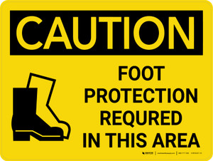 Caution: PPE Foot Protection Required in This Area Landscape With Icon - Wall Sign