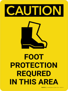 Caution: PPE Foot Protection Required in This Area Portrait With Icon - Wall Sign