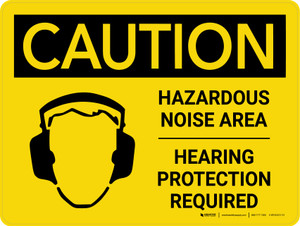 Caution: PPE Hazardous Noise Area Hearing Protection Required Landscape With Icon - Wall Sign