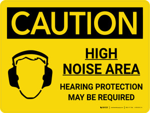 Caution: PPE High Noise Area Hearing Protection May be Required Landscape With Icon - Wall Sign