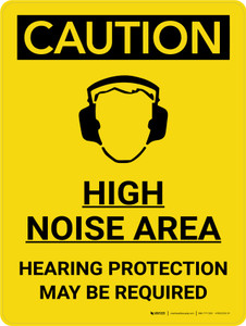 Caution: PPE High Noise Area Hearing Protection May be Required Portrait With Icon - Wall Sign