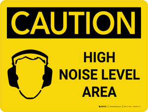 Caution: PPE High Noise Level Area Landscape With Icon - Wall Sign