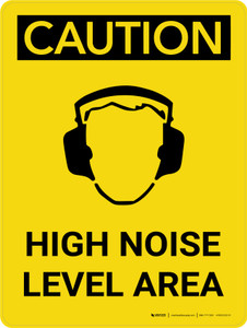 Caution: PPE High Noise Level Area Portrait With Icon - Wall Sign