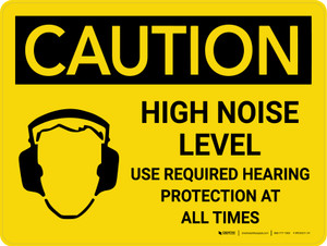 Caution: PPE High Noise Level Use Required Hearing Protection Landscape With Icon - Wall Sign