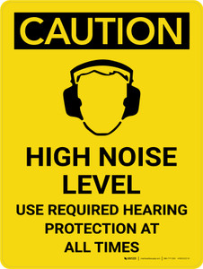 Caution: PPE High Noise Level Use Required Hearing Protection Portrait With Icon - Wall Sign