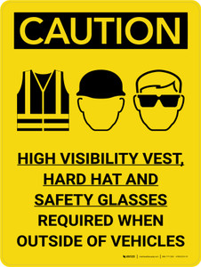 Caution: PPE High Vis Vest Hard Hat Glasses Required Portrait With Icon - Wall Sign