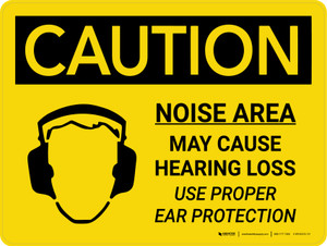 Caution: PPE Noise Area May Cause Hearing Loss Use Hearing Protection Landscape With Icon - Wall Sign