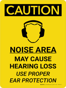 Caution: PPE Noise Area May Cause Hearing Loss Use Hearing Protection Portrait With Icon - Wall Sign